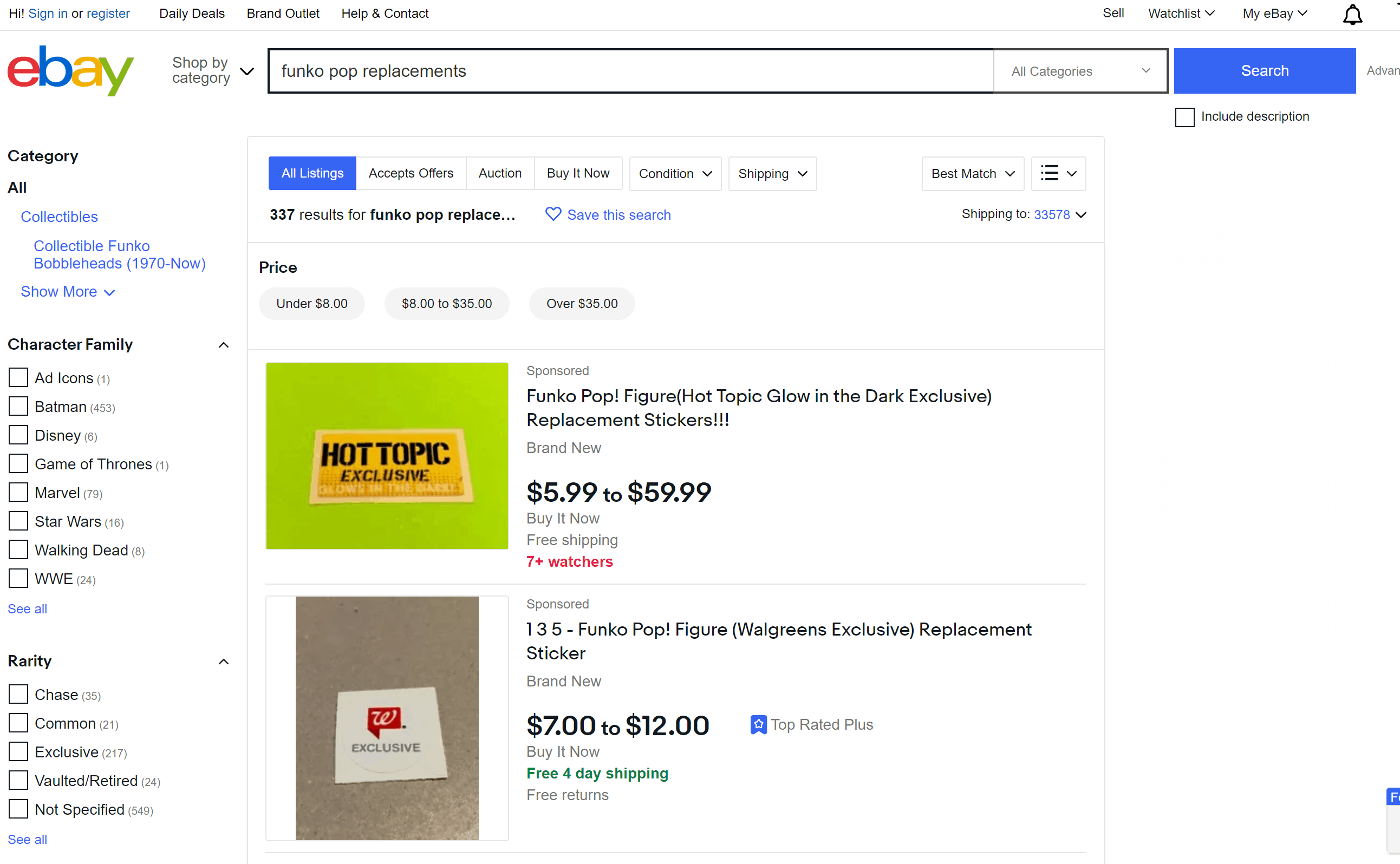 Funko Pop Replacements at Ebay